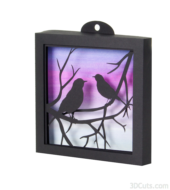 3d Shadow Box tutorial by 3dCuts.com, Robins on a Branch file by Marji Roy, 3D cutting files in .svg, .dxf, and .pdf formats for use with Silhouette and Cricut cutting machines, paper crafting files