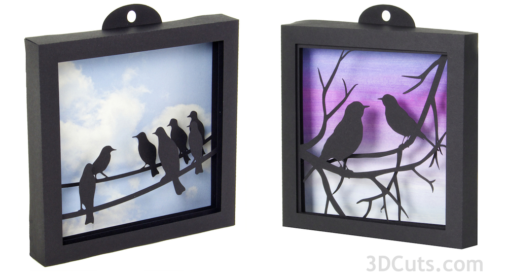 3d bird shadow boxes by Marji Roy at 3dcuts.com