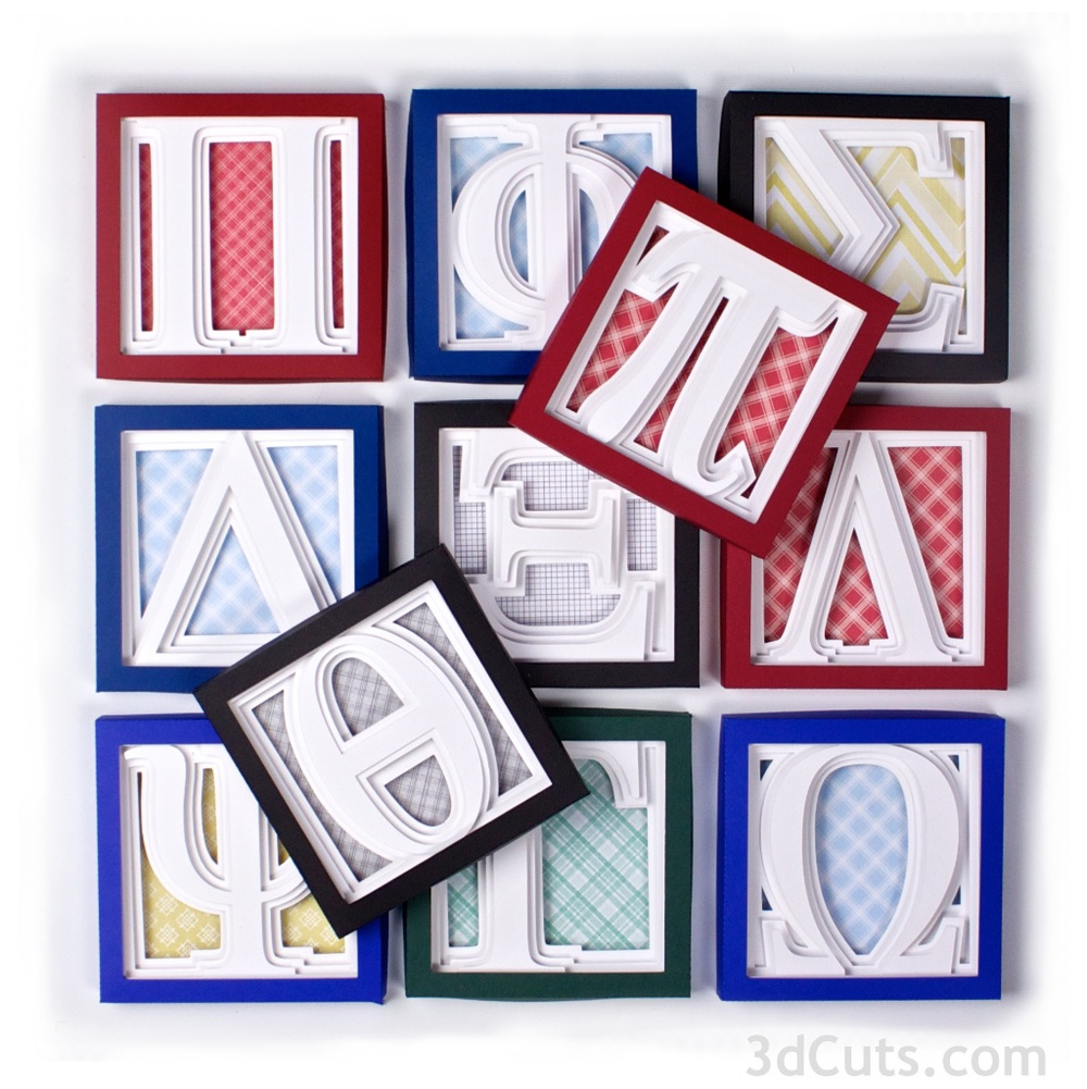Alphabet Shadow Boxes Greek Letters by 3dcuts