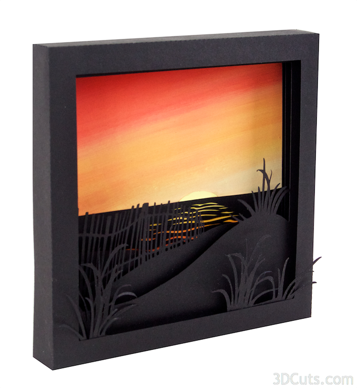 3d Shadow boxes by 3dCuts.com, Moonrise, Sunrise, Marji Roy, 3D cutting files in .svg, .dxf, and .pdf formats for use with Silhouette and Cricut cutting machines