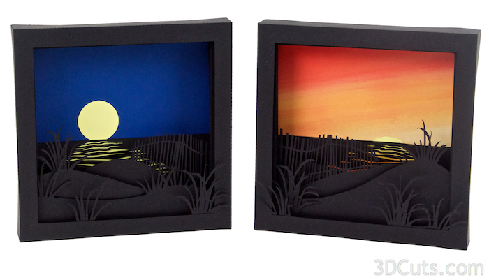 Sunrise and moonrise shadow boxes 3dcuts