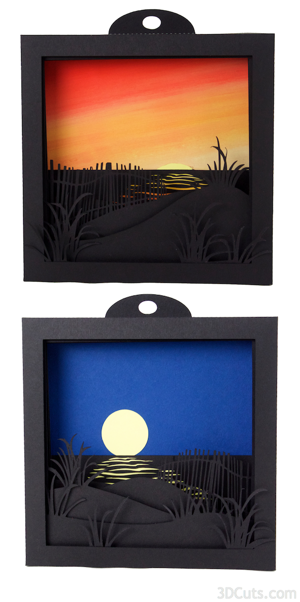 Sunrise and Moonrise Shadow boxes by Marji Roy at 3dcuts.com. Cutting files for use with Silhouette or Cricut available in svg, pdf and dxf formats. Complete tutorial.