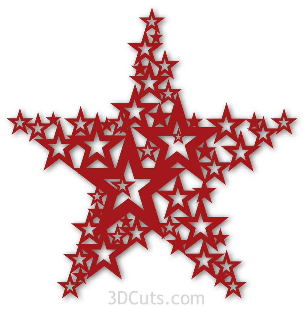 Star of Stars by Marji Roy of 3dcuts.com. Cutting files in svg, pdf and dxf formats for Silhouette and Cricut