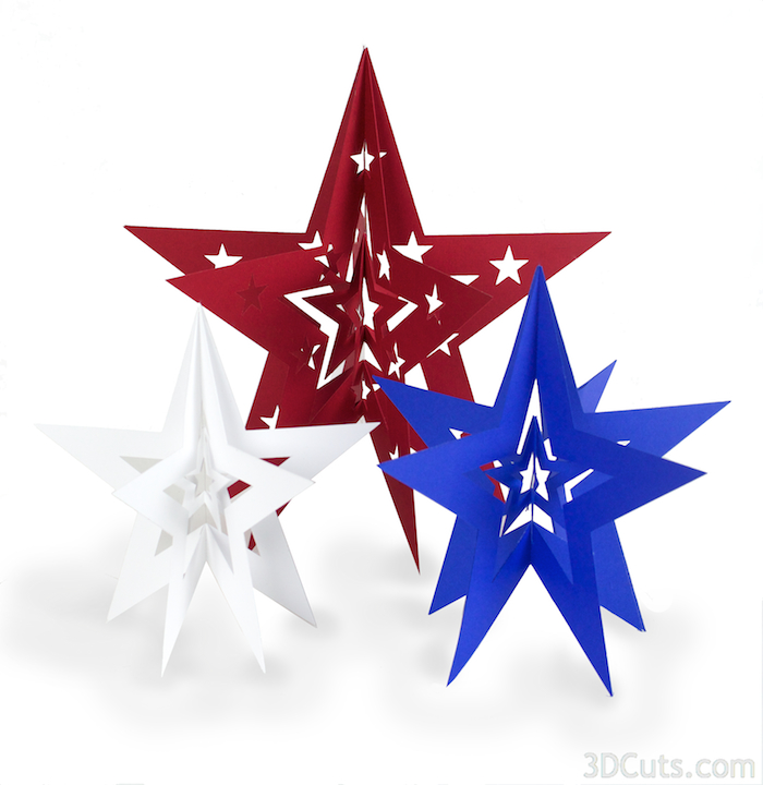 3d nested Stars by Marji Roy of 3dcuts.com. Cutting files in svg, pdf and dxf formats for Silhouette and Cricut