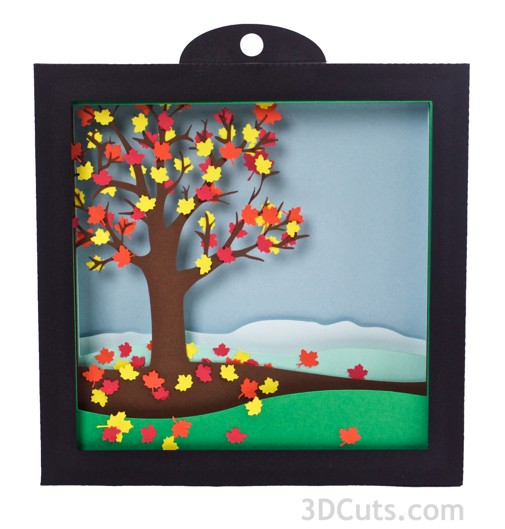 Falling Leaves 3d Shadow box   by 3dCuts.com, Falling Leaves, Marji Roy, 3D cutting files in .svg, .dxf, and .pdf formats for use with Silhouette and Cricut cutting machines
