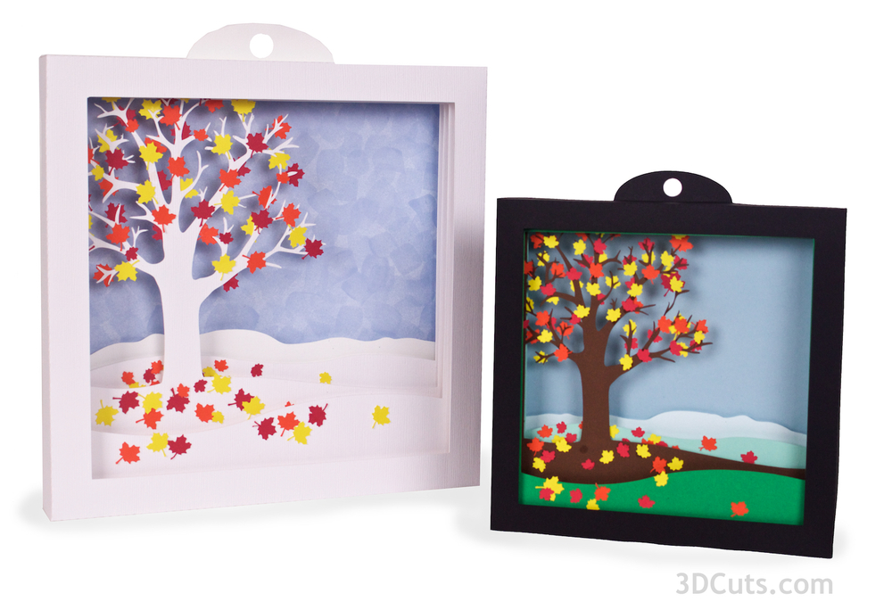 Falling Leaves Shadow Boxes - svg cutting files by Marji Roy of 3dcuts.com