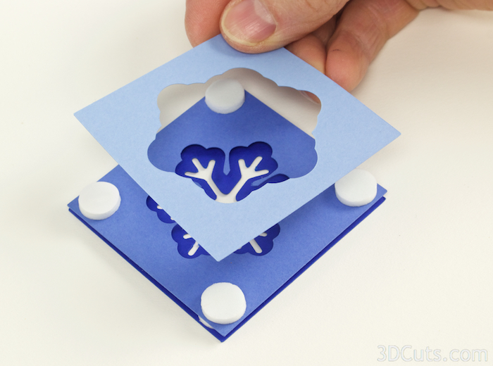 3d Shadow Box Christmas Ornaments by 3dCuts.com, Marji Roy, 3D cutting files in .svg, .dxf, and .pdf formats for use with Silhouette and Cricut cutting machines, paper crafting files