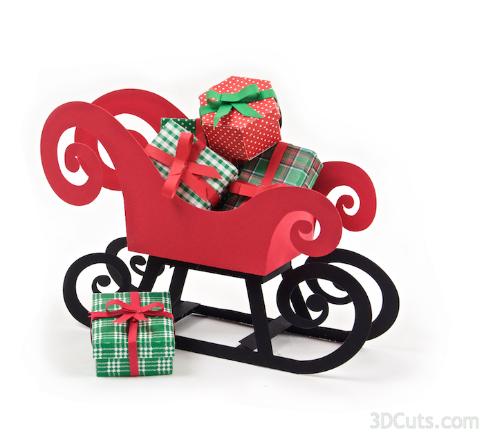 Santa's Sleigh by 3dCuts.com, Marji Roy, 3D cutting files in .svg, .dxf, and .pdf formats for use with Silhouette and Cricut cutting machines