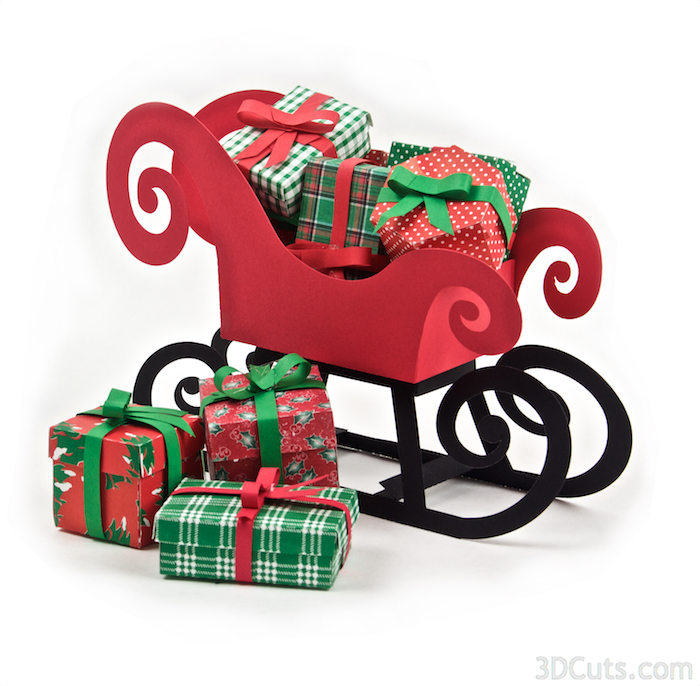 3d Presents and Santa's Sleigh by 3dCuts.com, Marji Roy designs 3D cutting files in .svg, .dxf, and .pdf formats for use with Silhouette and Cricut cutting machines, paper crafting files
