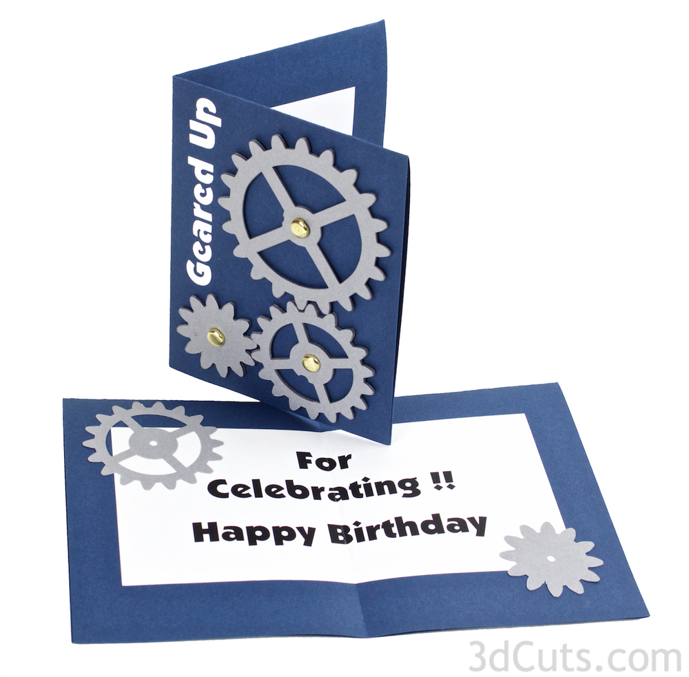 Working Gear Greeting Card designed by Marji Roy of 3dCuts.com  . For use with Cricut and Silhouette cutting machines. Tutorial.