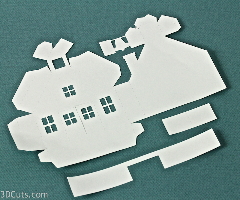 Ledge Village by 3DCuts.com, Marji Roy, 3D cutting files in .svg, .dxf, and pdf. formats for use with Silhouette and Cricut cutting machines, paper crafting files, Ledge Village School