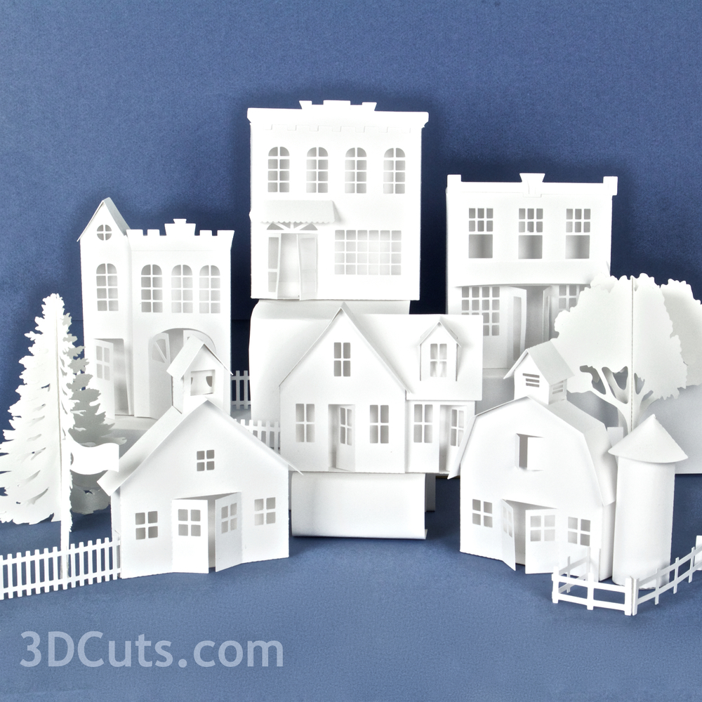 Ledge Village by 3DCuts.com, Marji Roy, 3D cutting files in .svg, .dxf, and pdf. formats for use with Silhouette and Cricut cutting machines, paper crafting files