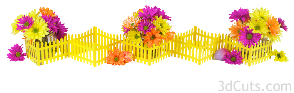 These Picket Fence is a beautiful framework for a springtime centerpiece. The cutting files is 99¢  here .