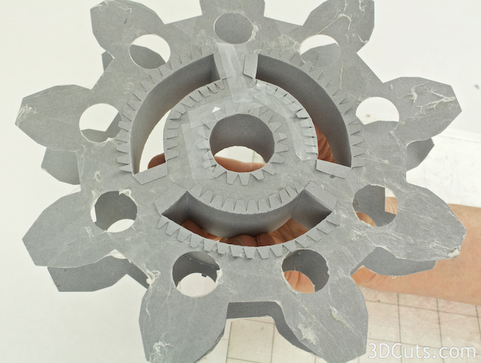 SVG cutting files for Silhouette and Cricut Cutting machines. 3D Steampunk DIY gears by Marji Roy of 3dcuts.com