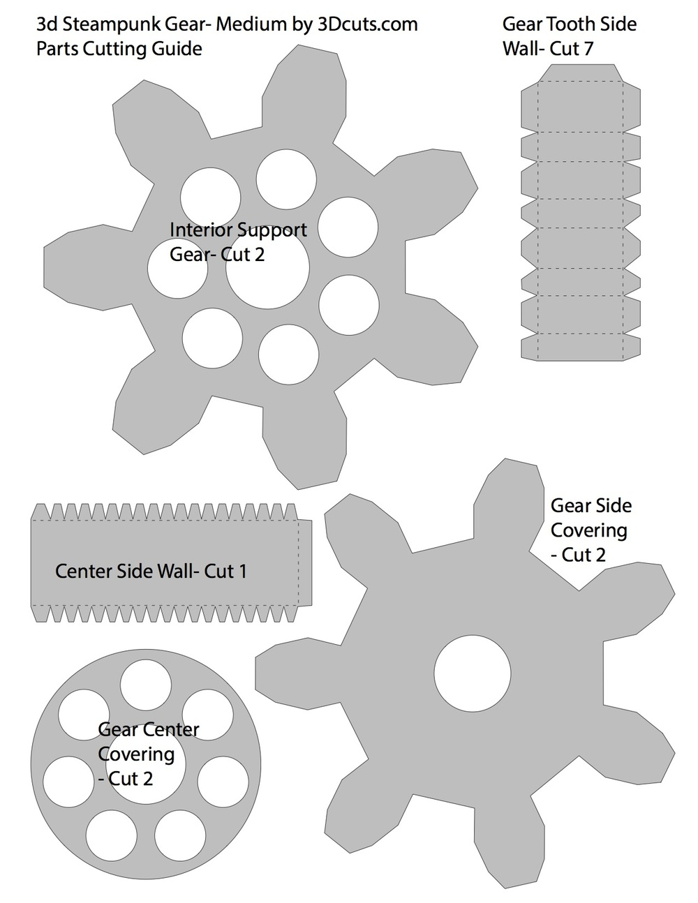 Number of each part to cut for medium 7 toothed gear.