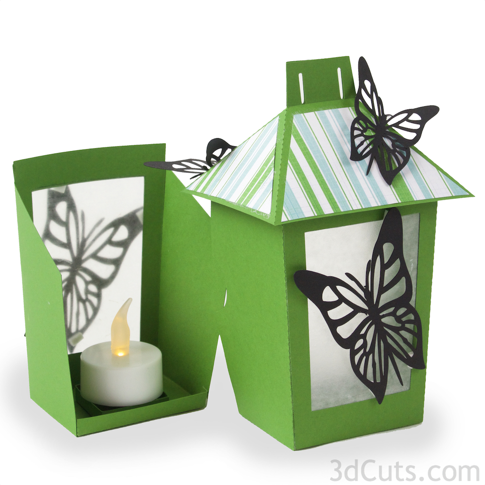 3D Butterfly Lantern SVG cutting file by 3dcuts.com. This tutorial is the assembly instructions to go with the cutting files for the Butterfly Lantern. For use with Silhouette and Cricut cutting machines. Files in SVG, PDF and dxf formats.