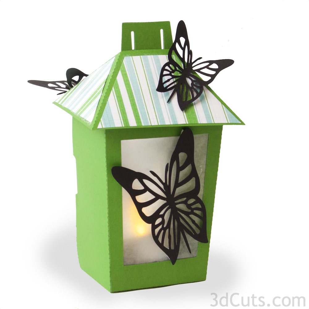 Paper Lantern with butterflies by Marji Roy of 3dcuts.com