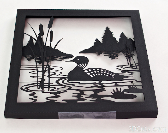Loon Lake Shadow box Tutorial by Marji Roy of 3dcuts.com. Cutting files in svg, pdf, and dxf formats for paper cutting using Silhouette and Cricut cutting machines