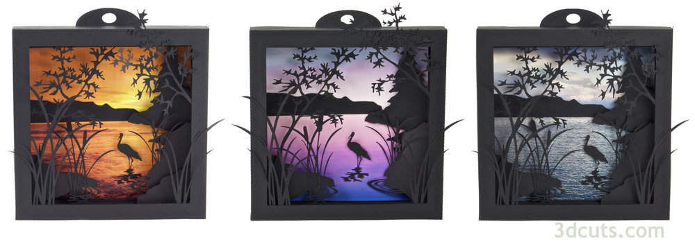 Here is the Heron Cove Shadow Box made with  three of the backgrounds provided with the file download.