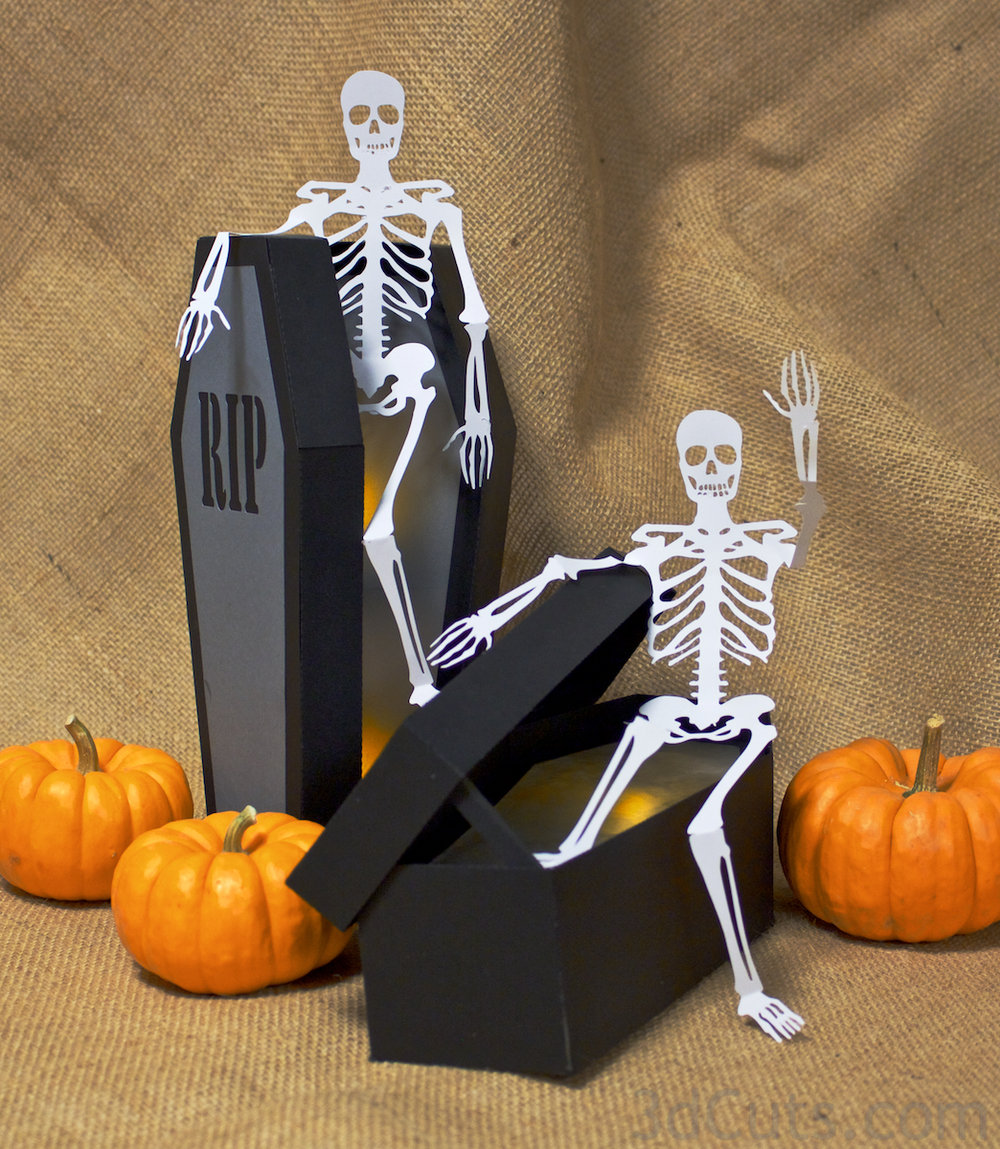 Haunted Casket SVG cutting file with LED tea light by 3dcuts.com