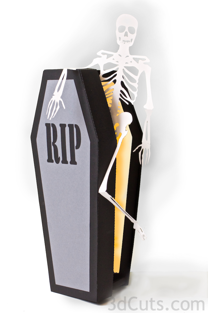 Haunted Casket by 3dcuts.com. SVG cutting files for Silhouette and Cricut plus other cutting machines