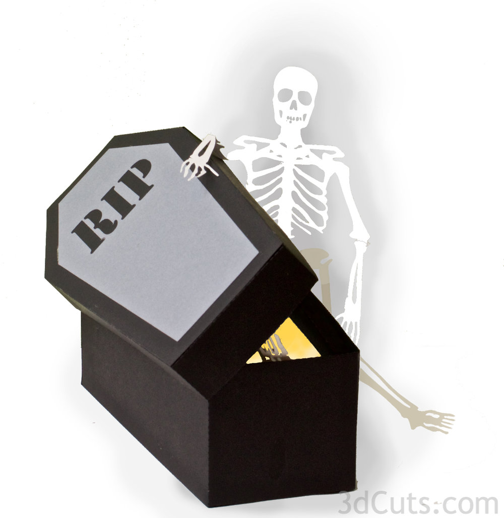 Haunted Casket by 3dcuts.com with LED tea lights. SVG cutting files for Silhouette and Cricut plus other cutting machines