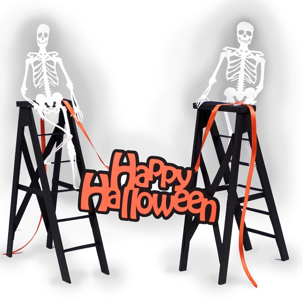 Haunted Ladders with decorating skeletons for Halloween decor by Marji Roy of 3dcuts.com