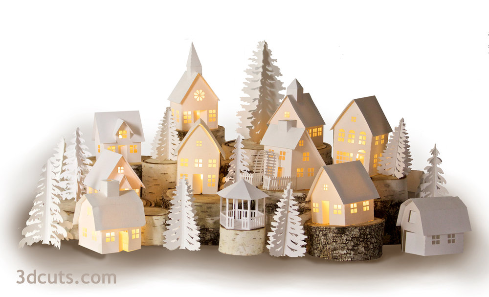 Tea Light Village by 3dcuts.com