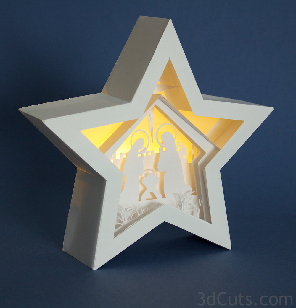 3d Star Nativity Shadow Box cutting files in SVG, pdf, png, and dxf formats,  with LED back lights. Designed by Marji Roy of 3dcuts.com for Silhouette and Cricut cutting machines 3d Star Nativity Shadow Box cutting files in SVG, pdf, png, and dxf formats,  with LED back lights. Designed by Marji Roy of 3dcuts.com for Silhouette and Cricut cutting machines