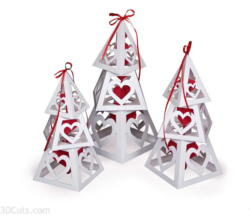 3d Valentine Tower cutting files in SVG, pdf, png, and dxf formats. Designed by Marji Roy of 3dcuts.com for Silhouette, Cricut and other cutting machines