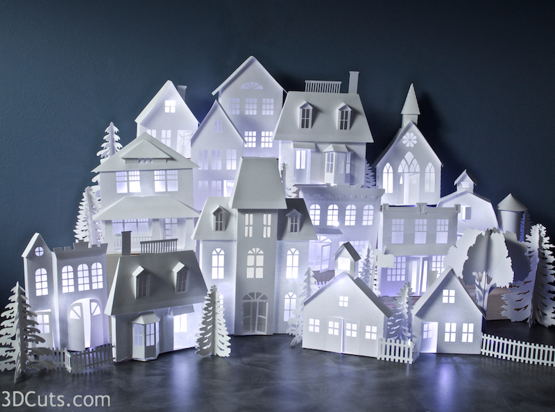 Ledge Village by Marji Roy of 3dcuts.com. Paper house cutting files in SVG, PDF,DXF formats. for use with your Silhouette and Cricut cutting machines.