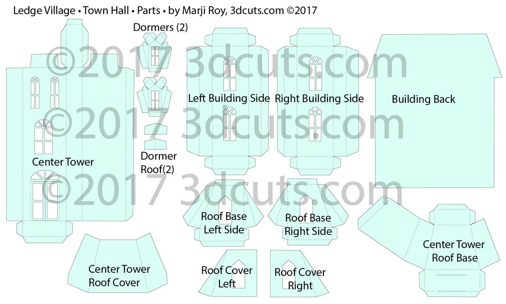 Ledge Village Town Hall cutting files in SVG, pdf, png, and dxf formats. Designed by Marji Roy of 3dcuts.com for Silhouette, Cricut and other cutting machines. Paper cutting files. Assembly