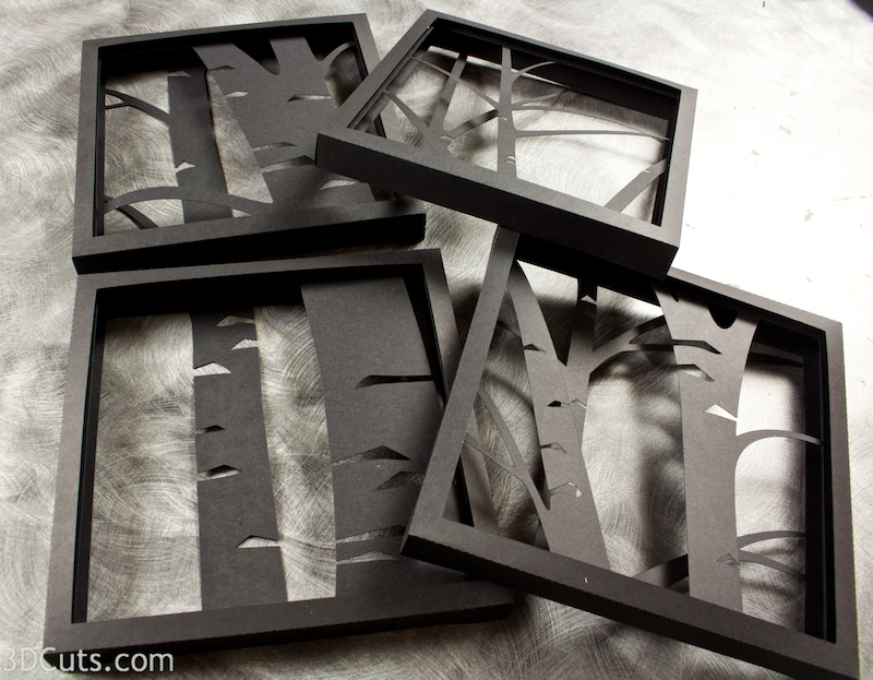 3d Birch Trees Shadow Box tutorial by 3dCuts.com, Marji Roy, 3D cutting files in .svg, .dxf, and .pdf formats for use with Silhouette and Cricut cutting machines, paper crafting files