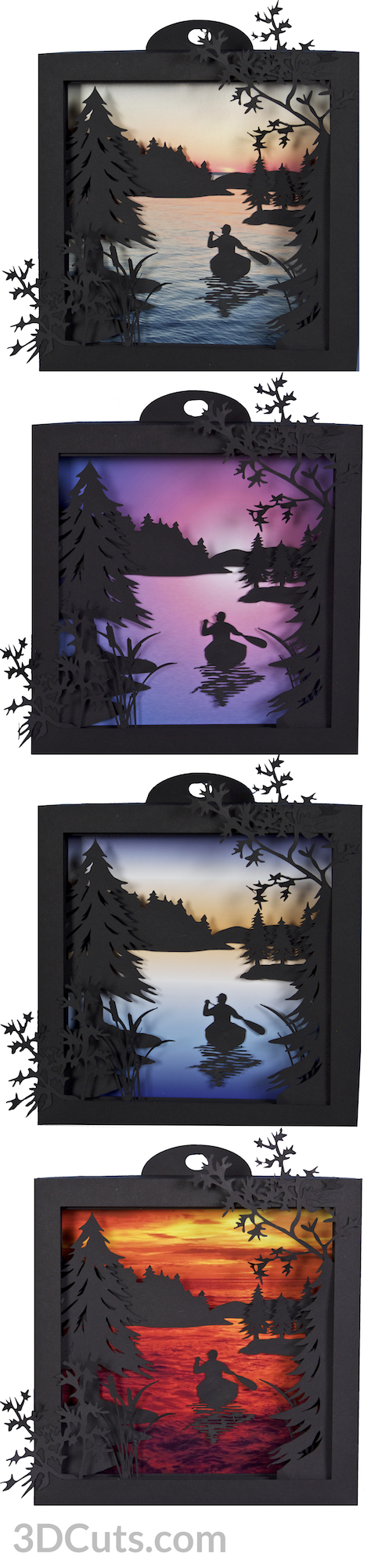 Canoe at Sunrise Shadow Box in paper by Marji Roy of 3dcuts.com. Cutting files in svg, pdf, and dxf formats for Silhouette and Cricut cutting machines