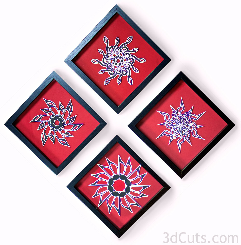 Musical  Mandalas by Marji Roy at 3dcuts.com. SVG, PDF, DXF and PNG files available for cutting on your Silhouette, Cricut or other cutting machine.