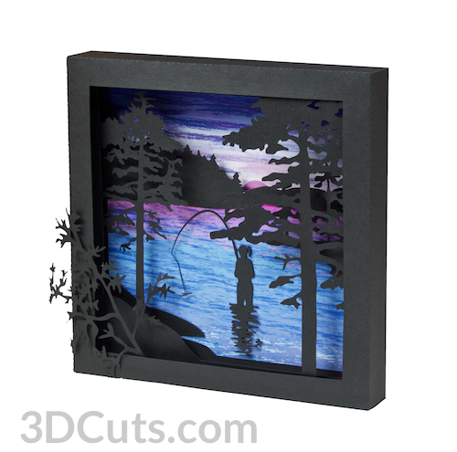 Summer Scenes Shadow Boxes in paper by Marji Roy of 3dcuts.com. Cutting files in svg, pdf, png and dxf formats for Silhouette and Cricut cutting machines