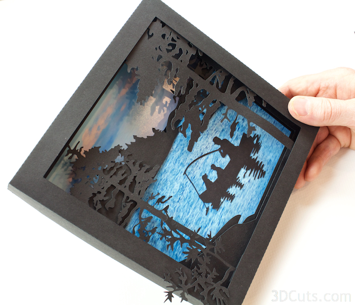 Heron Cove  Shadow box Tutorial by Marji Roy of 3dcuts.co  m. Cutting files in svg, pdf, and dxf formats for paper cutting using Silhouette and Cricut cutting machines