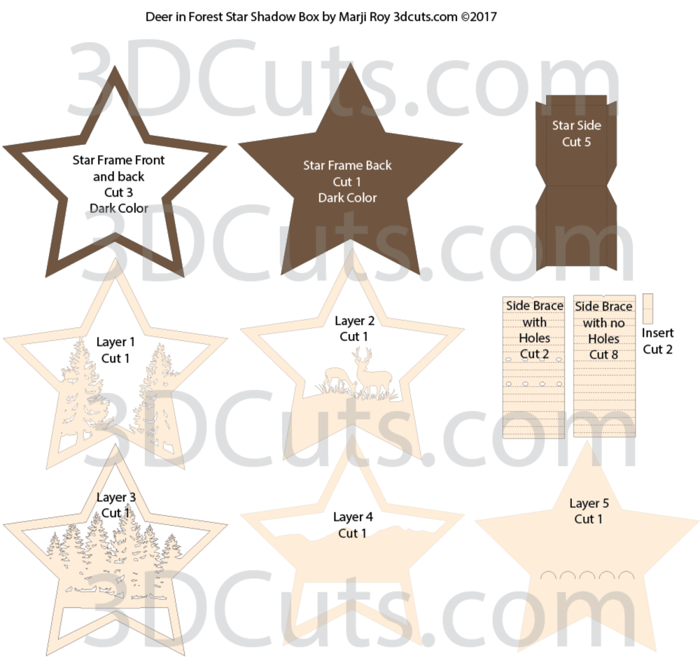 Deer Cuts Diagram Venison Star Nativity Shadow Box Cutting Files In And Dxf 1000x947