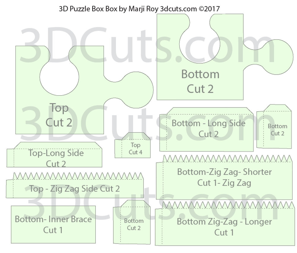 3D Puzzle Box in card stock by Marji Roy of 3dcuts.com. SVG, PDF, PNG and DXF cutting files and a complete tutorial available.
