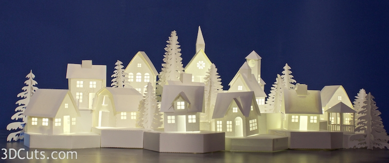 Stunning 3D illuminated tea light village by Marji Roy of 3dcuts.com. SVG, PDF, PNG and DXF cutting files and complete tutorials available.