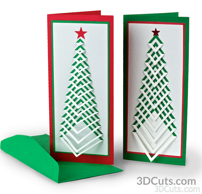Handmade Christmas Card Design. Accordion Christmas Card by 3dCuts.com, Marji Roy, 3D cutting files in .svg, .dxf, png and .pdf formats for use with Silhouette and Cricut cutting machines, paper crafting files,