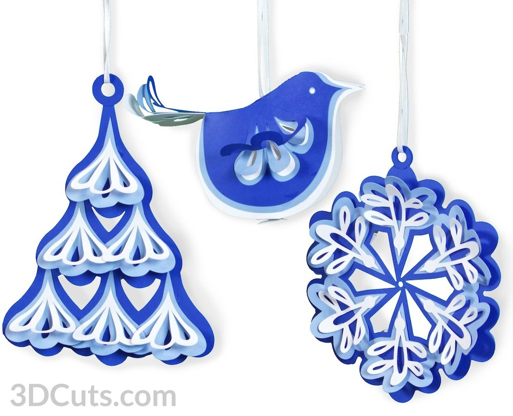 Handmade Christmas Ornament by 3dCuts.com, Marji Roy, 3D cutting files in .svg, .dxf, png and .pdf formats for use with Silhouette and Cricut cutting machines, paper crafting files,