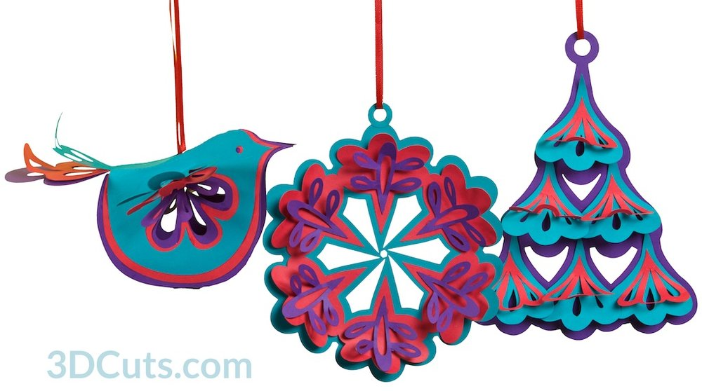 Handmade Christmas Tree Ornaments by 3dCuts.com, Marji Roy, 3D cutting files in .svg, .dxf, png and .pdf formats for use with Silhouette and Cricut cutting machines, paper crafting files,
