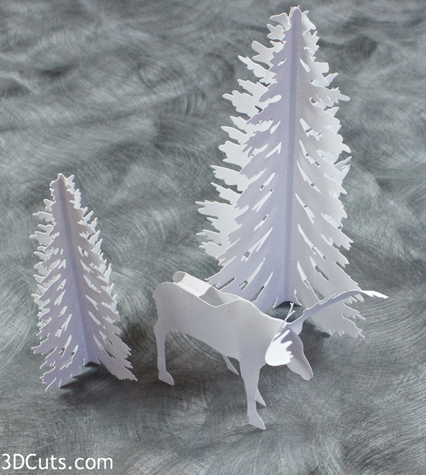Handmade paper moose diorama by 3dCuts.com, Marji Roy, 3D cutting files in .svg, .dxf, png and .pdf formats for use with Silhouette, Brother ScanNCut and Cricut cutting machines, paper crafting files,