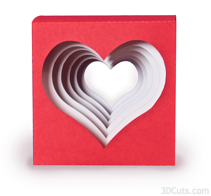 Handmade heart cube valentine by 3dCuts.com, Marji Roy, 3D cutting files in .svg, .dxf, png and .pdf formats for use with Silhouette and Cricut cutting machines, paper crafting files,