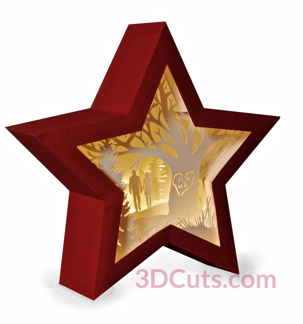 Stunning 3D illuminated Star Shadow Box by 3dCuts.com, by Marji Roy, 3D cutting files in .svg, .dxf, png and .pdf formats for use with Silhouette, Cricut and Brother cutting machines, paper crafting files, SVG Files