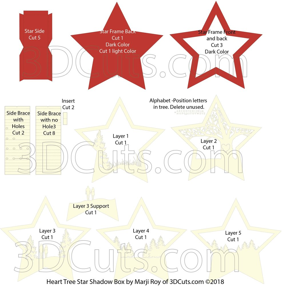 Layout for Stunning 3D illuminated Star Shadow Box by 3dCuts.com, by Marji Roy, 3D cutting files in .svg, .dxf, png and .pdf formats for use with Silhouette, Cricut and Brother cutting machines, paper crafting files, SVG Files
