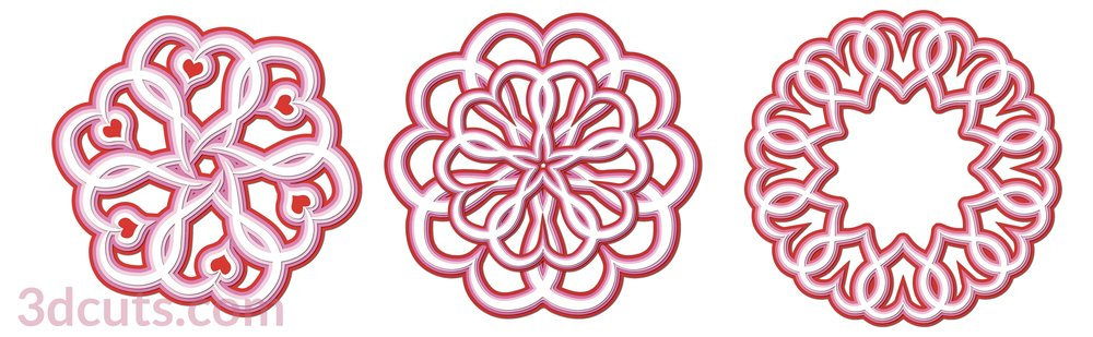 Valentine Mandalas by 3dCuts.com, by Marji Roy, 3D cutting files in .svg, .dxf, png and .pdf formats for use with Silhouette, Cricut and Brother cutting machines, paper crafting files, SVG Files