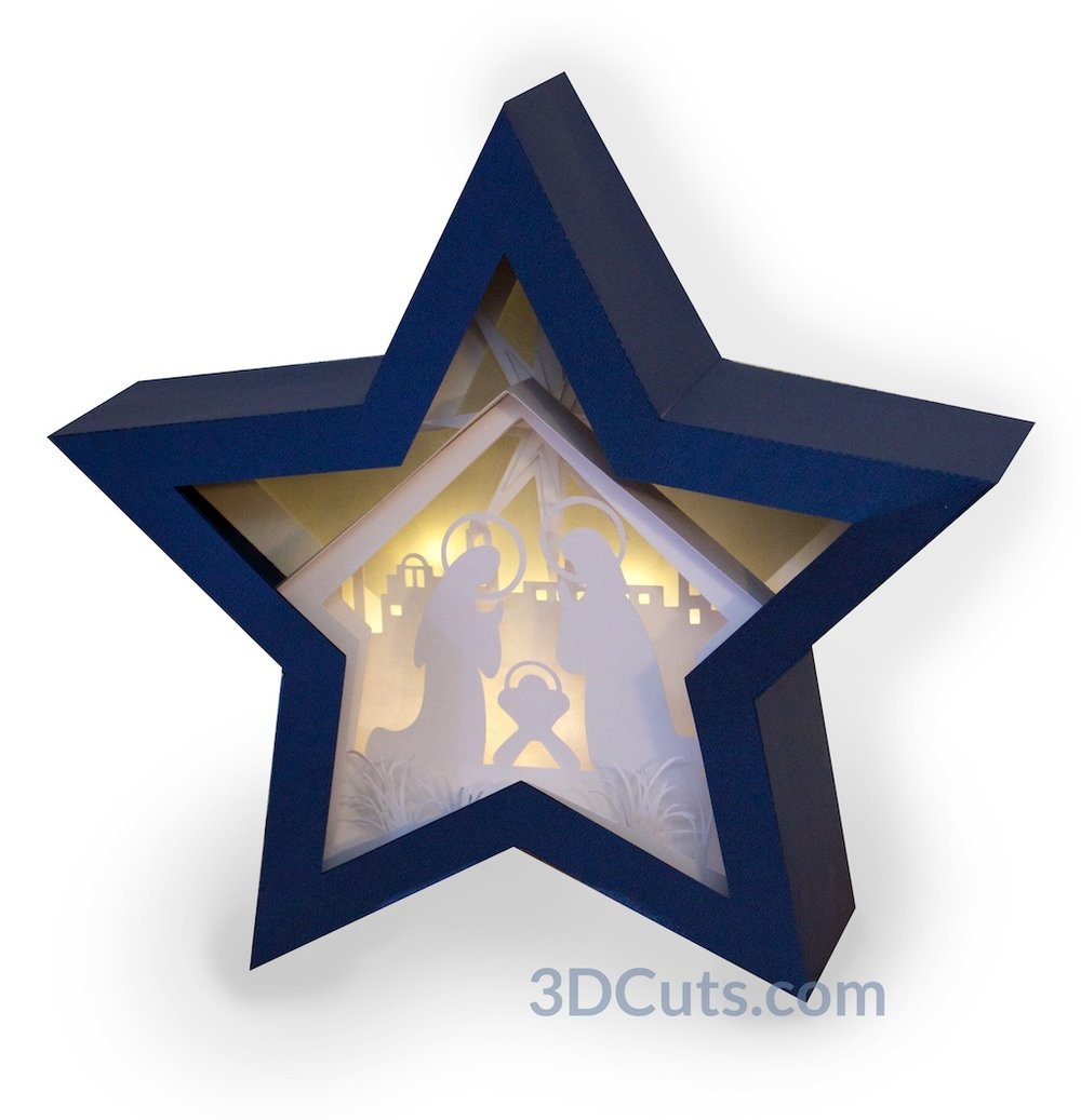 Stunning 3D illuminated Nativity Star Shadow Box by 3dCuts.com, by Marji Roy, 3D cutting files in .svg, .dxf, png and .pdf formats for use with Silhouette, Cricut and Brother cutting machines, paper crafting files, SVG Files
