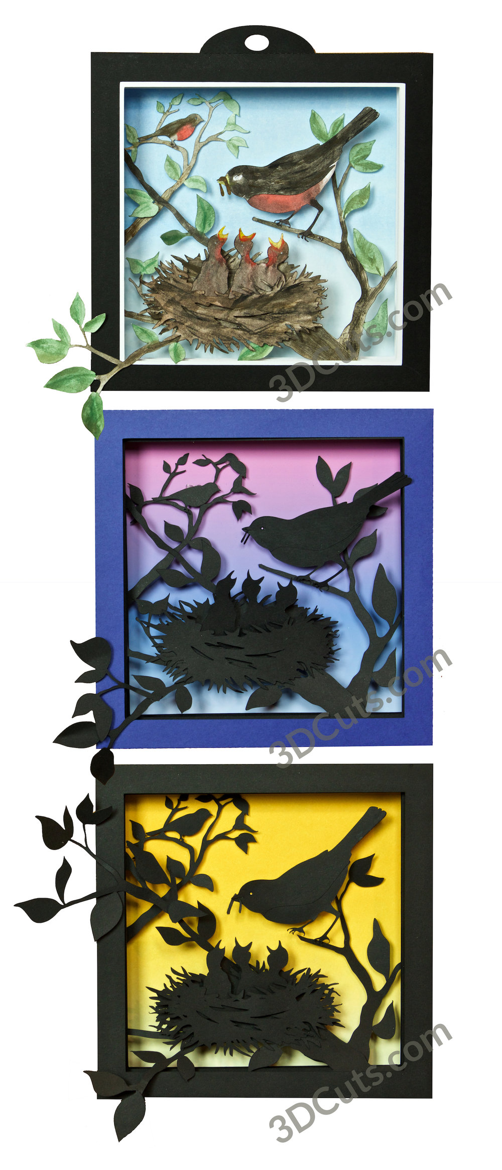 Springtime Robins Shadow box by Marji Roy of 3dcuts.com. This is a cutting file for use on Cricut and Silhouette cutting machine. It is made from card stock. Files available in svg, pdf, png and pdf formats.